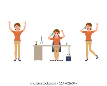 Angry office woman talking on phone cartoon character. Shouting lady director at work