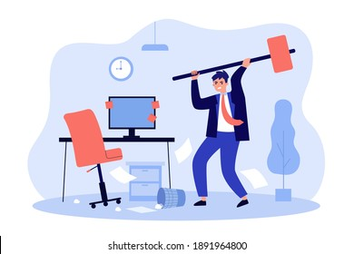 Angry office worker destroying personal computer with hammer isolated flat vector illustration. Cartoon furious man breaking his workplace. Business and work stress concept