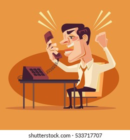 Angry office worker man character shouting on phone. Vector flat cartoon illustration