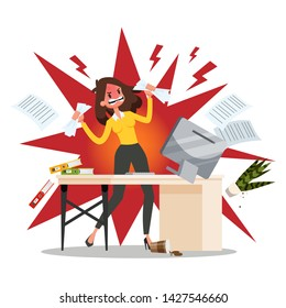 Angry offie worker crushing the workplace. Stress and anger, furious employee. Negative expression. Vector illustration in cartoon style