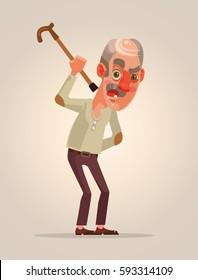 Angry old man character. Vector flat cartoon illustration
