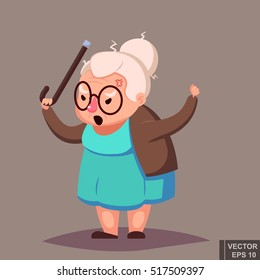 Angry Old Woman Brandishing Her Cane. Senior lady with glasses shouting
