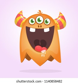 Angry orange cartoon monster with horns. Big collection of cute monsters. Halloween character. Vector illustrations.