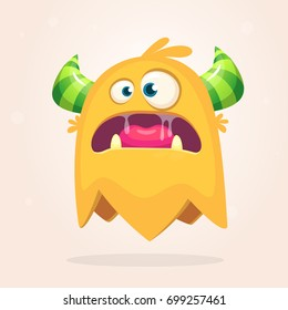 Angry orange cartoon monster with horns. Big collection of cute monsters. Halloween character. Vector illustrations. Good for book illustration, logo, emblem, magazine prints or journal article
