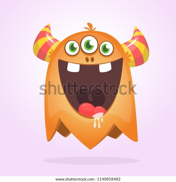 Angry Orange Cartoon Monster Horns Big Stock Vector Royalty Free 1140858482