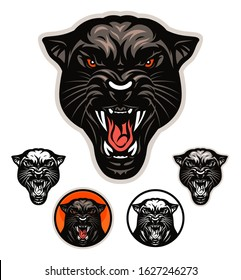 Angry panther head vector emblem with four variations.