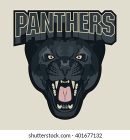 Angry Panther Sport team emblem, wild big cat head. Aggressive predator with bared teeth in cartoon style, t-shirt print design