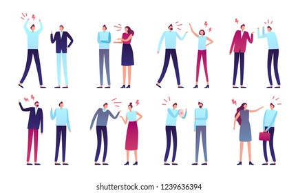 Angry people. Aggressive business peoples, worker person aggression or yelling man and women couple arguing emotions. Anxious rage or confused human character isolated vector icons set