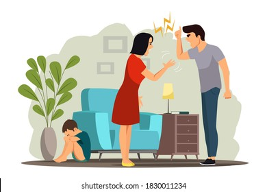 Angry people in family conflict. Woman and man shouting, screaming, yelling, fighting, scared child crying. Unhappy marriage vector illustration. Domestic quarrels, kid suffering.