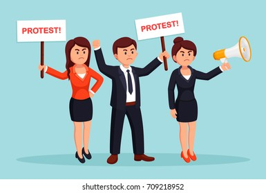 Angry people. Protestors hold protest sign, placard, banner, bullhorn isolated on background. Activist with poster, megaphone. Demonstration, revolution, riot, strike concept. Vector flat illustration