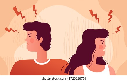 Angry people quarrel. The young couple quarreled and did not want to talk about it. Psychological concept of family quarrel and home conflict
