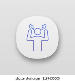Angry person app icon. UI/UX user interface. Steam coming out ears. Anger and irritation. Stress and burnout. Furious man. Frustration. Stress symptom. Mobile application. Vector isolated illustration