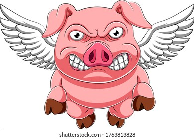 Angry Pig Cartoon Flying of illustration