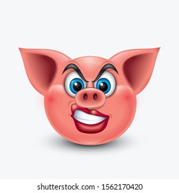 Angry pig emoticon with curly lips, emoji  - vector illustration