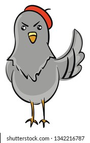 Angry pigeon with red beret illustration color vector on white background