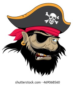 Angry Pirate in a hat with patch over eye