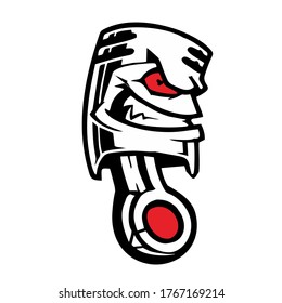 angry piston with reddened eyes