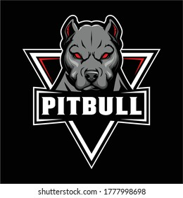 Angry Pitbull Dog head Cartoon Character vector logo badge