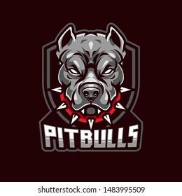 Angry Pitbull Mascot, Vector Logo Illustration