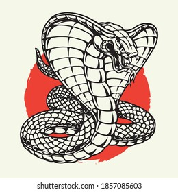 Angry poisonous king cobra concept in vintage monochrome style on red sun background isolated vector illustration