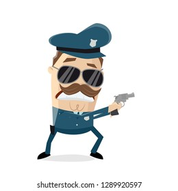 angry police officer with drawn gun