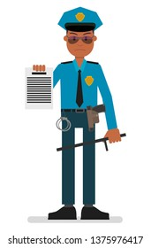 An angry policeman is submitting an arrest or search warrant. Vector illustration, flat style drawing.