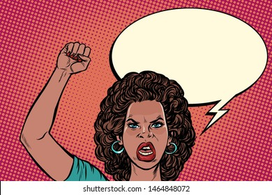 angry protester African woman, rally resistance freedom democracy. Pop art retro vector illustration drawing