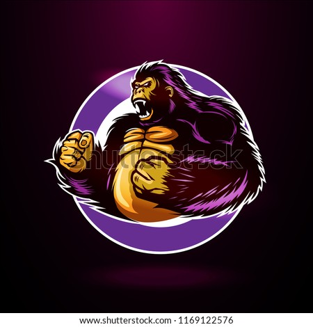 Angry Purple Gorilla Stock Vector Royalty Free 1169122576