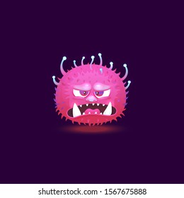 Angry purple pink monster with big teeth and glowing hairy skin floating with angry annoyed face. Funny 3D cartoon character emoticon isolated on dark background - vector illustration
