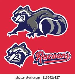 angry racoon mascot set