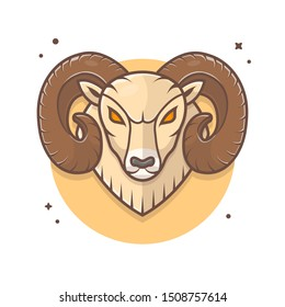 Angry Ram Mascot Logo Vector Icon Illustration. Angry Goat Sport Logo Icon Concept White Isolated. Flat Cartoon Style Suitable for Web Landing Page, Banner, Sticker, Background