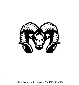Angry Ram Symbol Logo. Tattoo Design. Vector Illustration.