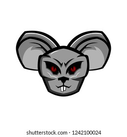 Angry Rat Head cartoon vector illustration