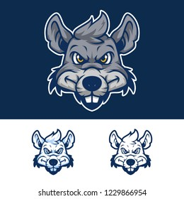Angry Rat Head Mascot Logo