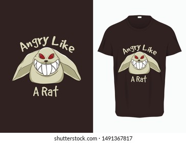 Angry Rat illustration for t-shirt, prints, posters, and other uses