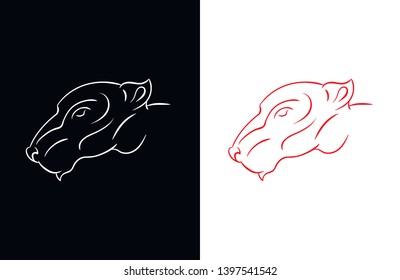 Angry rat mouse head icon tattoo logo vector line avatar illustration