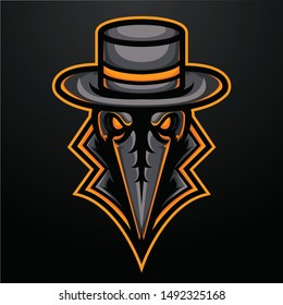Angry Reaper Mascot Logo for Sport and Esport isolated on dark Background