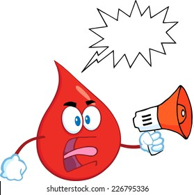 Angry Red Blood Drop Cartoon Mascot Character Screaming With Speech Bubble. Vector Illustration Isolated On White Background