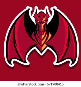 the angry red dragon mascot sport logo illustration,sticker, art print