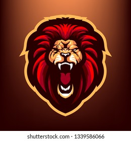 Angry Red Lion for esport and sport mascot logo isolated on dark Red Background