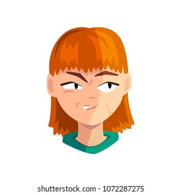Angry redhead girl, female emotional face, avatar with facial expression vector Illustration on a white background