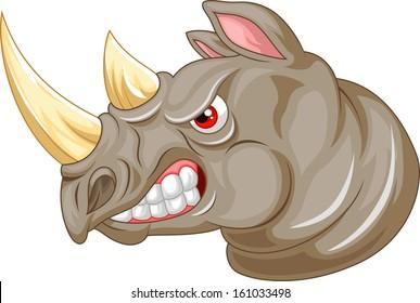 Angry rhino cartoon character