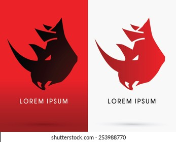 Angry Rhino head, Face, big horn, logo, symbol, icon, graphic, vector.