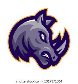 angry rhino head mascot logo vector