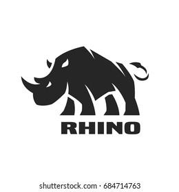 Angry rhino. Monochrome logo.