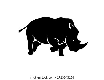 angry Rhinoceros monochrome color vector template