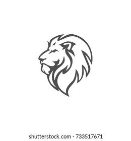 Angry, Roar Lion Head, Black And White, Vector Logo Design, Illustration, Template
