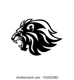 Angry Roaring Lion Head Black And White Vector Logo Design, Illustration, Template