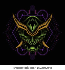 Angry ronin mask illustration art design for t-shirt poster and other