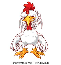 An angry rooster cartoon character.